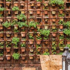 """I've used this idea a few times great for screening, dividing and creating a comfortable """"outdoor room"""". I even have a couple in my own garden, not sure what color to paint my pots though, I have at least 50 left over from a show garden but they are yellow! #gardendesign #landscapedesign  #gardendesignsussex  #potwall #rebarwall #featurewall"""