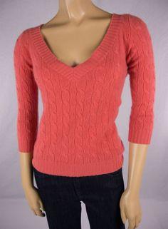 RALPH LAUREN Black Label 100% Cashmere Cable Knit Pink Sweater Sz S