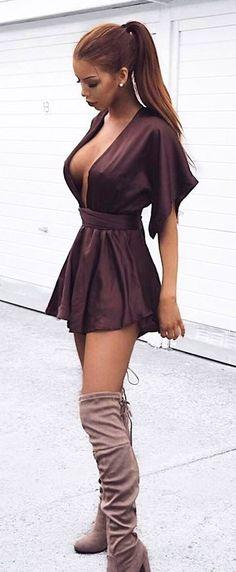 #spring #outfits  Wine V-neck Dress + Grey Velvet OTK Boots