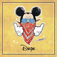 DOPE MICKEY - Print // pepiart / shop / art / illustration / kunst / künstler / artist / wohnen / living / kunstdruck / poster / fashion / girl / fashion / good vibes / deko / stylish / edgy / mickey mouse / gangster / cool / hip / love / sunglasses / sonnenbrille