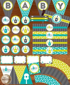 Groovy Guitar Inspired Baby Shower PrintableParty Package Kit DIY You Print - Grey / Gray, Lime and Turquoise.