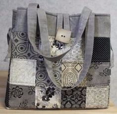 bag pattern designs from Juberry by Julie Betts The Juberry Shades of Grey Bag designed by Julie BettsThe Juberry Shades of Grey Bag designed by Julie Betts Top Band, Unique Bags, Fabric Bags, Coordinating Fabrics, Shades Of Grey, Beautiful Bags, Messenger Bag, Sewing Projects, Sewing Patterns