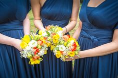 Spring Yellow Orange Bridesmaid Bouquets Quirky Spring Barn Humanist Wedding http://www.bethmoseleyphotography.co.uk/