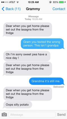 """Texting with Grammy. @Katie Paris """"oops silly potato"""""""