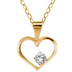 0.11 Ct Round White Zirconia 14K Yellow Gold Pendant With Chain. This item is proudly custom made in the USA. 100% Satisfaction Guaranteed. Gemstones may have been treated to improve their appearance or durability and may require special care.