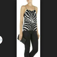 Zara Top Black and white zebra print top. Key hole back opening,  v-neck, 2 side splits. Zara Tops