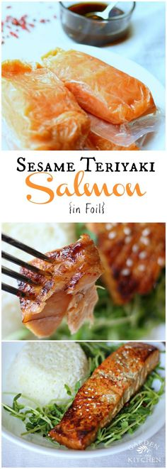 This easy sesame teriyaki salmon in foil is a great 30-minute meal for a busy week night. gardeninthekitche...