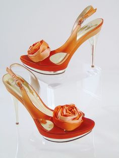 Marciano Iris Stiletto Satin Rose Dress Heels Orange Size 6.5 M Sold Out Model #Marciano #PlatformsWedges #Party