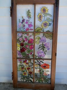 Painted Vintage Window - Grandma's Garden