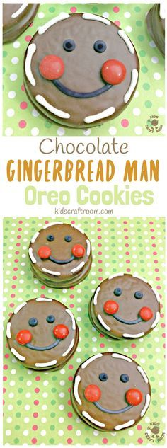 Chocolate Gingerbread Man Oreo Cookies - Fun Christmas treats for cooking with kids. An easy Christmas recipe with an Oreo base the whole family will enjoy. Cookies For Kids, Fun Cookies, Oreo Cookies, Decorated Cookies, Chocolate Cookies, Christmas Cooking, Christmas Desserts, Christmas Treats, Christmas Goodies