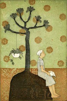 Piia Lehti: Kukkasadekuuroja / Showers of Flowers, etching, 2005