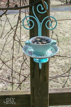 DIY tea cup candle sconce bird feeder tutorial @diyshowoff ----- My Comment: Could put an LED light in, for out front, too!