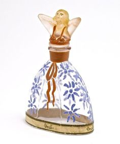 c1920 Dralle Tula perfume bottle and stopper, clear/frosted glass, enamel detail, rare paper label.