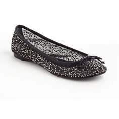 ADRIANNA PAPELL Selina Embellished Leather and Mesh Ballet Flats ($22) ❤ liked on Polyvore featuring shoes, flats, black, black slip-on shoes, leather ballet flats, leather sole shoes, black flat shoes and embellished ballet flats