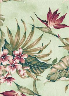 Ulele Mint is a tropical Hawaiian bark crepe style barkcloth. The plumeria and bird of paradise flowers are classic vintage and works great as an upholstery or drapery fabric.  More fabrics at: BarkclothHawaii.com