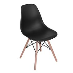$9.19,#ricochair#chair#furniture Rico chair, product size:54*46*82cm, PP backrest and seat, beech leg with black painting steel bar frame.4pcs/ctn,brown box with line-drawing.