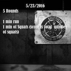 10 min run, squats
