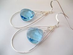 Blue Swarovski Crystal Chandelier Earrings by Head2ToeJewelry