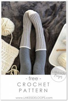 Fantastic Absolutely Free Crochet slippers free pattern Tips Watson Waffle Crochet Socks – FREE Pattern – Lakeside Loops Easy Crochet Socks, Crochet Sock Pattern Free, Crochet Boots, Crochet Slippers, Knit Crochet, Crochet Socks Tutorial, Crochet Leg Warmers, Crotchet Socks, Simple Crochet Patterns