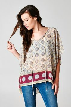 Relaxed Silky Woven Chiffon Tunic in stunning intricate Print. Flows beautifully, pair with a Cami, keep it casual and just go. #womens #summer #fashion