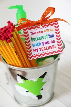 Buckets of Fun Printable Gift Tag and Idea for Back-to-School