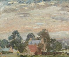 William George Gillies Landscape with Cottages among Trees, Pink Sky Landscaping Near Me, Luxury Landscaping, Landscaping Company, Painter Artist, Pink Sky, Art Uk, Landscape Paintings, Landscapes, Art And Architecture