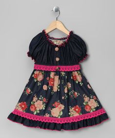 Take a look at this Fuchsia Denim Floral Dress - Toddler & Girls by Lele Vintage on #zulily today!