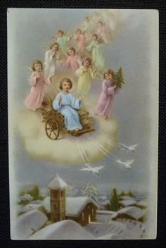 Vintage holy card Postcard Jesus angels winter scene Made in Italy. Vintage Holy Cards, Vintage Christmas Cards, Vintage Postcards, Religious Pictures, Jesus Pictures, Gloria In Excelsis Deo, Catholic Art, Prayer Cards, Blessed Mother