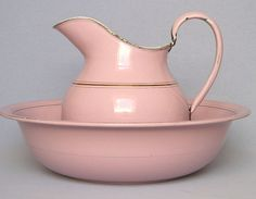 French Enamelware Pitcher and Basin - PINK -1920's.  Wow, never have seen Pink enamelware before!!