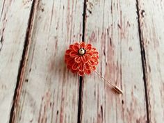 Orange Dahlia Flower Pin Scarf Pin Hat Pin Lapel by HandcraftKu  https://www.etsy.com/listing/498431236/orange-dahlia-flower-pin-scarf-pin-hat #etsyfinds #etsyaccessories #stickpin #scarfpin #hatpin #lapelpin #weddingboutonniere #handmadeaccessory #flowerpin #flowerbrooch #giftideas #giftforher #giftforhim #kanzashi #kanzashiflower #tsumamizaiku #fabricflower #orange #dahlia #buyhandmade #handmadewithlove