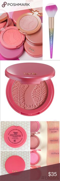 💋 TARTE Blush & Brush Set TARTE Amazonian Clay 12-Hour Blush - Blushing Bride (Plummy Rose)   Ultra-Soft Rainbow Powder Brush  Beautiful glistening rainbow hued handle is totally dreamy. Bristles are made of synthetic fiber, luxurious super-soft fiber feels perfect on your skin. No shedding. tarte Makeup Blush