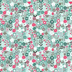 Makower Cats Flowers Turquoise Patchwork Fabric 1455 T