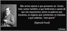 """Não somos apenas o que pensamos ser. Somos mais; somos também, o que lembramos e aquilo de que nos esquecemos; somos as palavras que trocamos, os enganos que cometemos, os impulsos a que cedemos...""""sem querer"""" (Sigmund Freud)"""