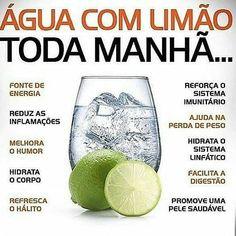 Água com Limão Lemon water every morning, see the benefits. Best Detox Program, Healthy Cooking, Healthy Life, Healthy Weight, Comidas Fitness, Dieta Fitness, Bebidas Detox, Nutrition Sportive, Diet Recipes