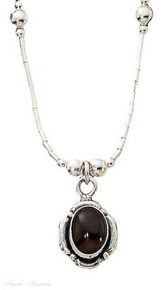 Sterling Silver Choker Necklace Petal Border Garnet Beads -