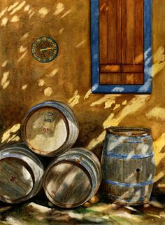 Barrels of wine painting