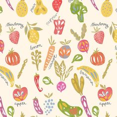 "25 Likes, 2 Comments - Alja Horvat Illustrations (@chotnelle) on Instagram: ""The pattern I made for the upcoming @spoonflower challenge  I wasn't quite a big fan of veggies…"""
