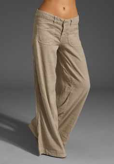 Patch Pocket Linen Wide Leg Pants @Amber Sublett i think we need these