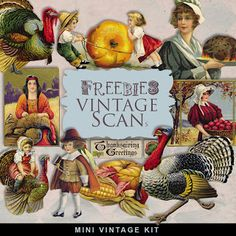 Freebies Vintage Thanksgiving Day Viñetas