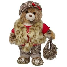 Fashionable leopard patterned clothing on a bear!!!!