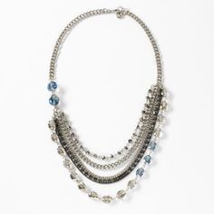 Simply Vera Vera Wang Two Tone Simulated Crystal and Bead Swag Necklace