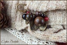 """Купить Брошь """"Пряная вишня"""" - ягода, брошь-булавка, лесной, вишневый, бордо, коричневый"""