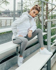 Chantel Jeffries for Kith Women... grey leggings w blk and orange, grey tank, vs hoodie