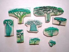 Sellos de árboles tallados a mano - hand carved tree stamps