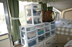 Use clear storage drawers instead of suitcases or duffle bags to make storing clothes for long trips simple.