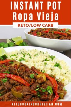 Instant Pot Ropa Vieja - Keto and Low Carb Ropa Vieja is a classic Cuban dish that is hearty and full of flavor! Beef braised in tomatoes, peppers, onions and a wonderful mix of spices pressure cooked in my Instant Pot. Cuban Recipes, Low Carb Recipes, Dinner Recipes, Breakfast Recipes, Diet Breakfast, Lunch Recipes, Yummy Recipes, Dinner Ideas, Ropa Vieja