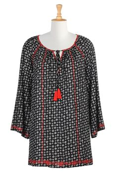 Black White And Red Tops, Graphic Print Tunic Tops Womens designer clothes - Embellished Tops, Plus Size Tops, Tunic Tops, Womens Long Sleeve Tops - | eShakti