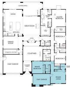 Trendy home plans with in law suite kitchenettes 21 ideas New House Plans, Dream House Plans, House Floor Plans, The Plan, How To Plan, Passive Solar, Next Gen Homes, Master Suite, Layout Design