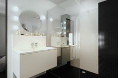 White and black contemporary bathroom | Salle de bain noire et blanche