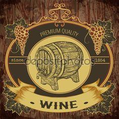 Rótulo vintage com barril de vinho e cacho de uvas em fundo de madeira. Elementos isolados. Retrô mão desenhada ilustração vetorial — Ilustração de Stock #93481542